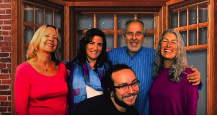 Mountain of Love: Sally Thomas, Laura Virgallito, Bruce, Margaret and in the forefront, Alex Lipton, videographer extraordinaire